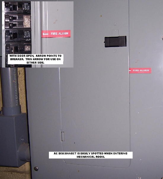 The Words Fire Alarm Will Be Seen With Door Closed This Draw User To Correct Electrical Supply Panel Arrow Then Pointing